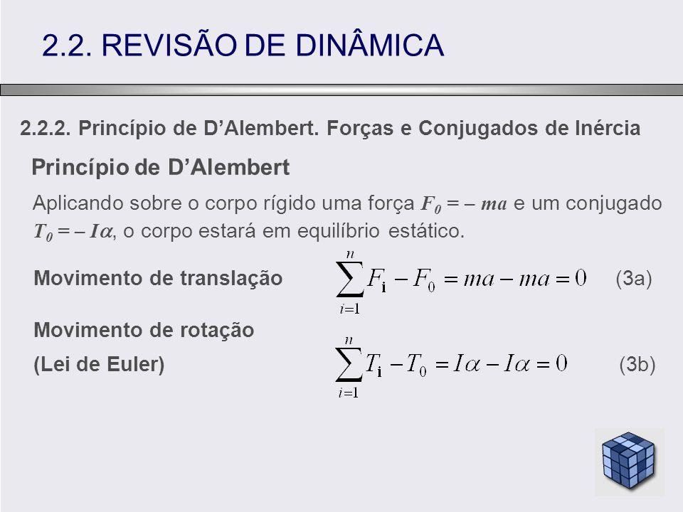 2.2. REVISÃO DE DINÂMICA Princípio de D'Alembert