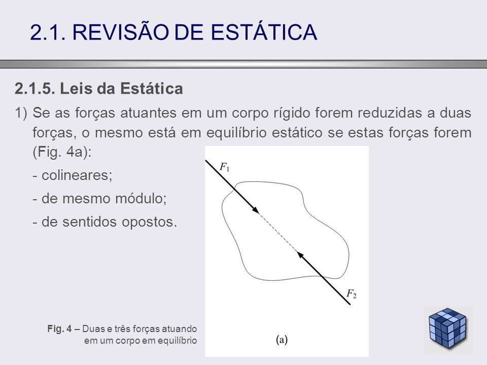 2.1. REVISÃO DE ESTÁTICA 2.1.5. Leis da Estática