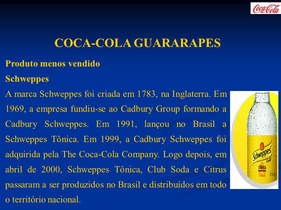 COCA-COLA GUARARAPES Produto menos vendido Schweppes