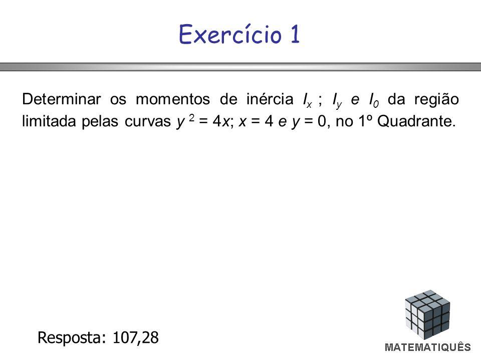 Exercício 1 Determinar os momentos de inércia Ix ; Iy e I0 da região limitada pelas curvas y 2 = 4x; x = 4 e y = 0, no 1º Quadrante.