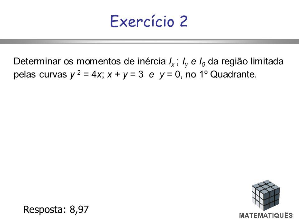 Exercício 2 Determinar os momentos de inércia Ix ; Iy e I0 da região limitada pelas curvas y 2 = 4x; x + y = 3 e y = 0, no 1º Quadrante.