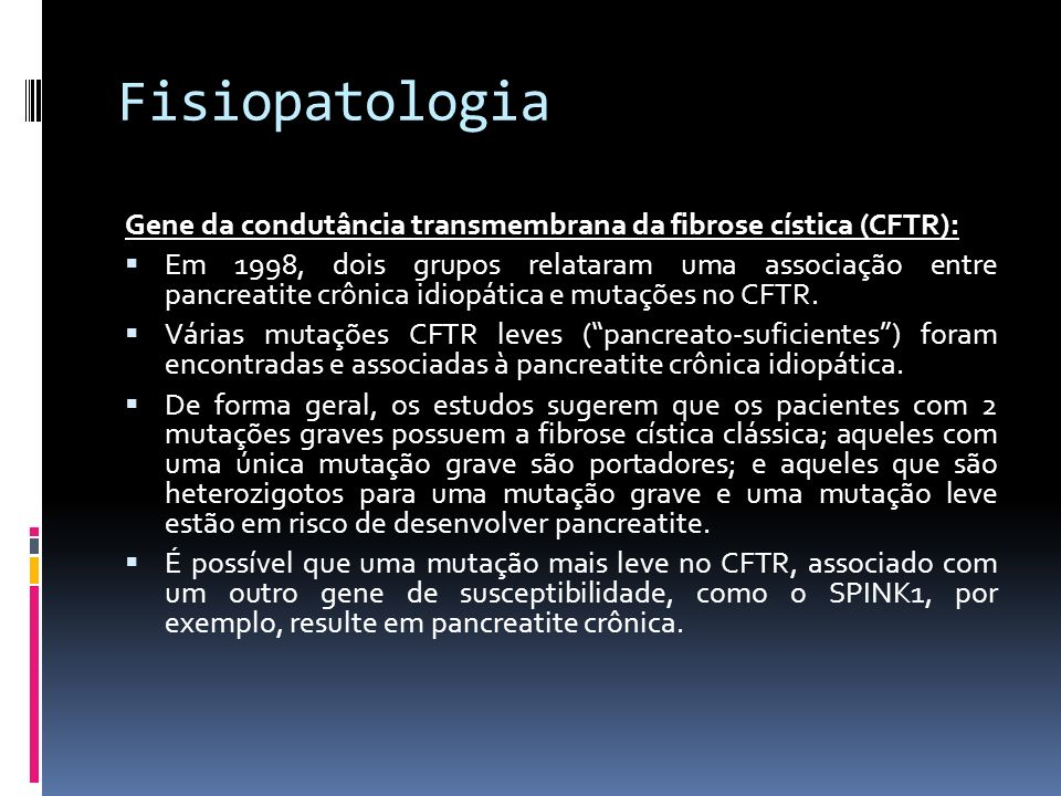 FisiopatologiaGene da condutância transmembrana da fibrose cística (CFTR):