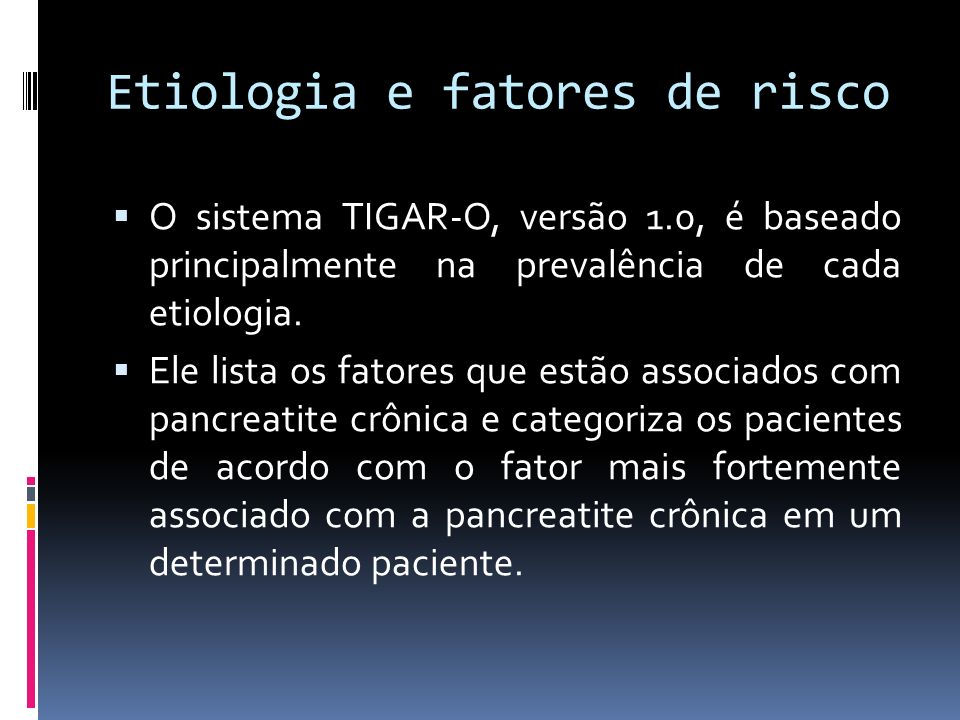 Etiologia e fatores de risco