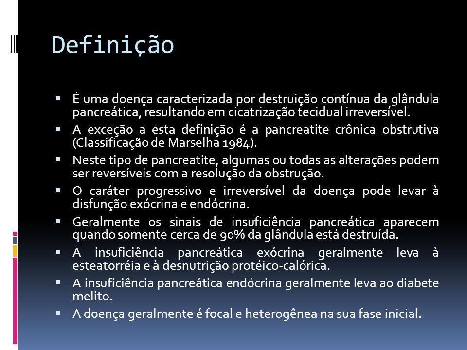 DefiniçãoÉ uma doença caracterizada por destruição contínua da glândula pancreática, resultando em cicatrização tecidual irreversível.