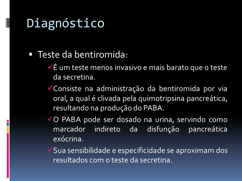 Diagnóstico Teste da bentiromida: