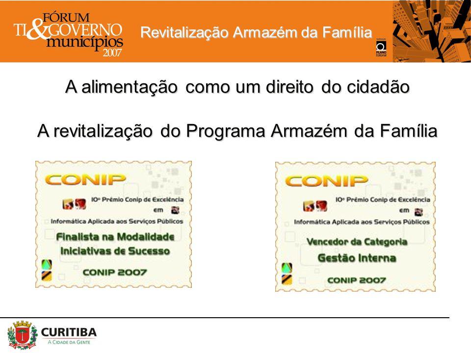 A alimentação como um direito do cidadão A revitalização do Programa Armazém da Família