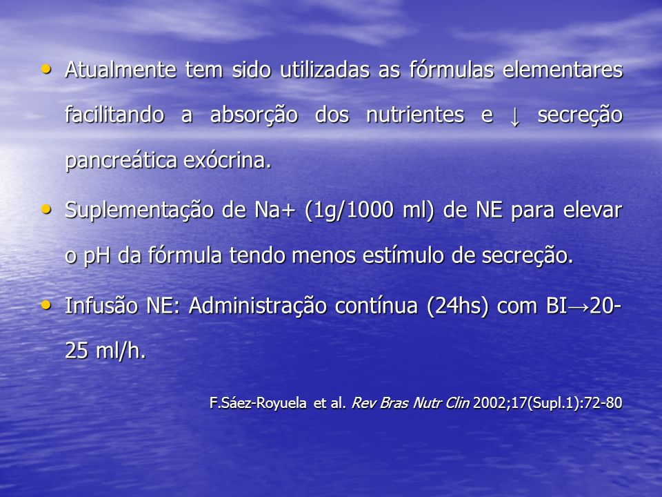 Infusão NE: Administração contínua (24hs) com BI→20-25 ml/h.