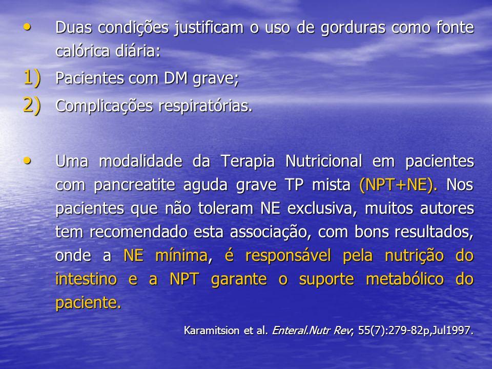 Duas condições justificam o uso de gorduras como fonte calórica diária: