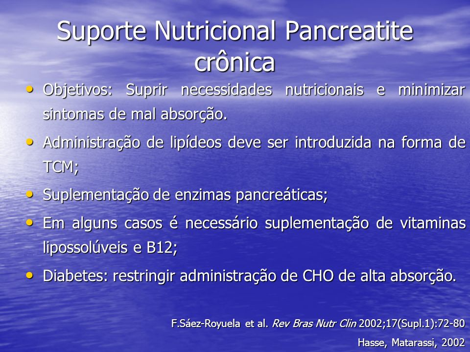 Suporte Nutricional Pancreatite crônica