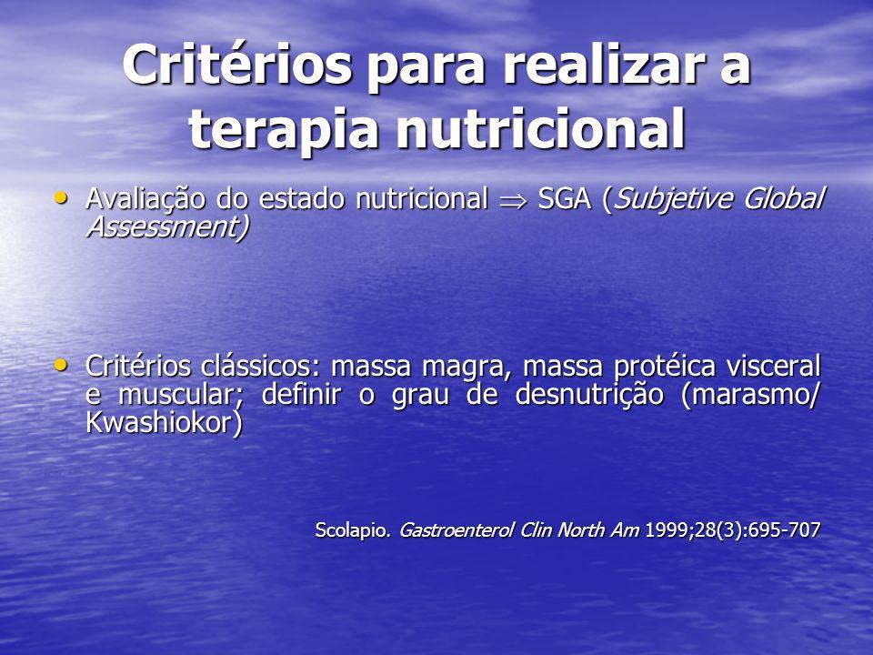 Critérios para realizar a terapia nutricional