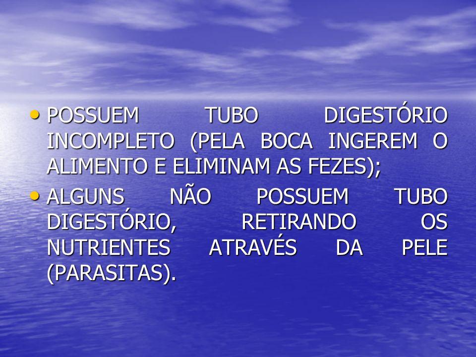 POSSUEM TUBO DIGESTÓRIO INCOMPLETO (PELA BOCA INGEREM O ALIMENTO E ELIMINAM AS FEZES);
