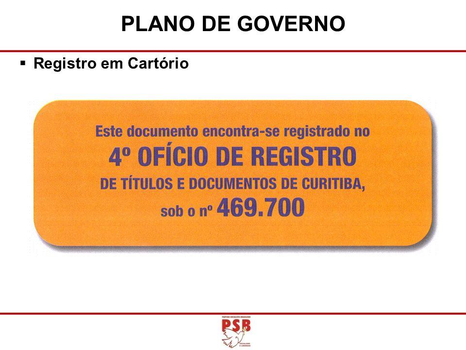 PLANO DE GOVERNO Registro em Cartório