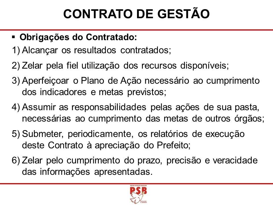 CONTRATO DE GESTÃO Alcançar os resultados contratados;