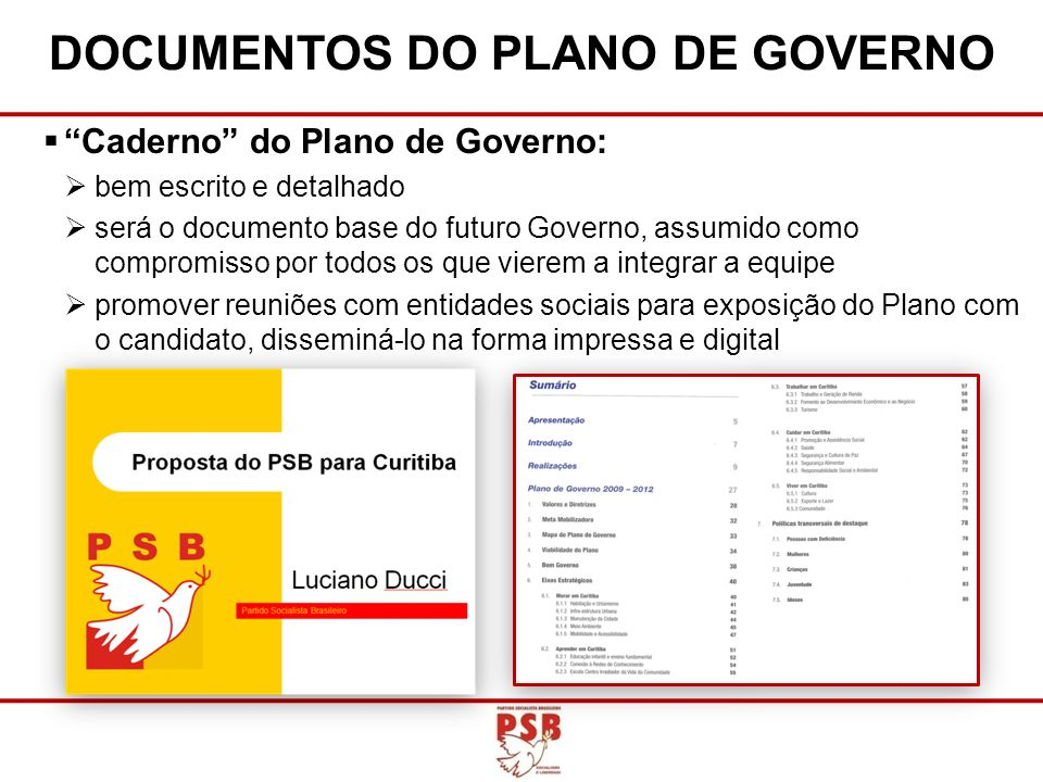 DOCUMENTOS DO PLANO DE GOVERNO