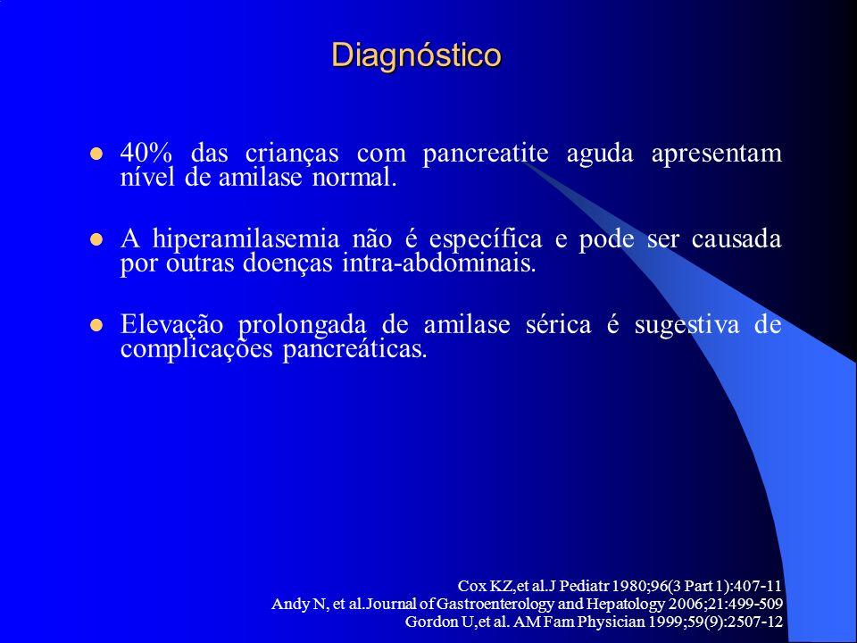 Diagnóstico 40% das crianças com pancreatite aguda apresentam nível de amilase normal.