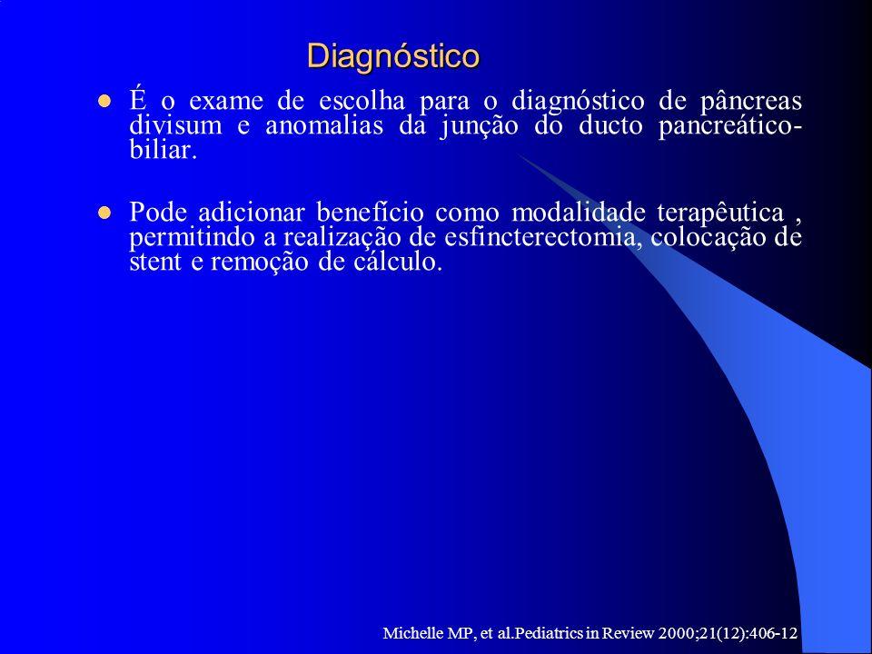 Diagnóstico É o exame de escolha para o diagnóstico de pâncreas divisum e anomalias da junção do ducto pancreático-biliar.