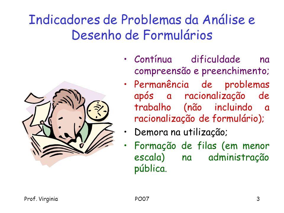 Indicadores de Problemas da Análise e Desenho de Formulários