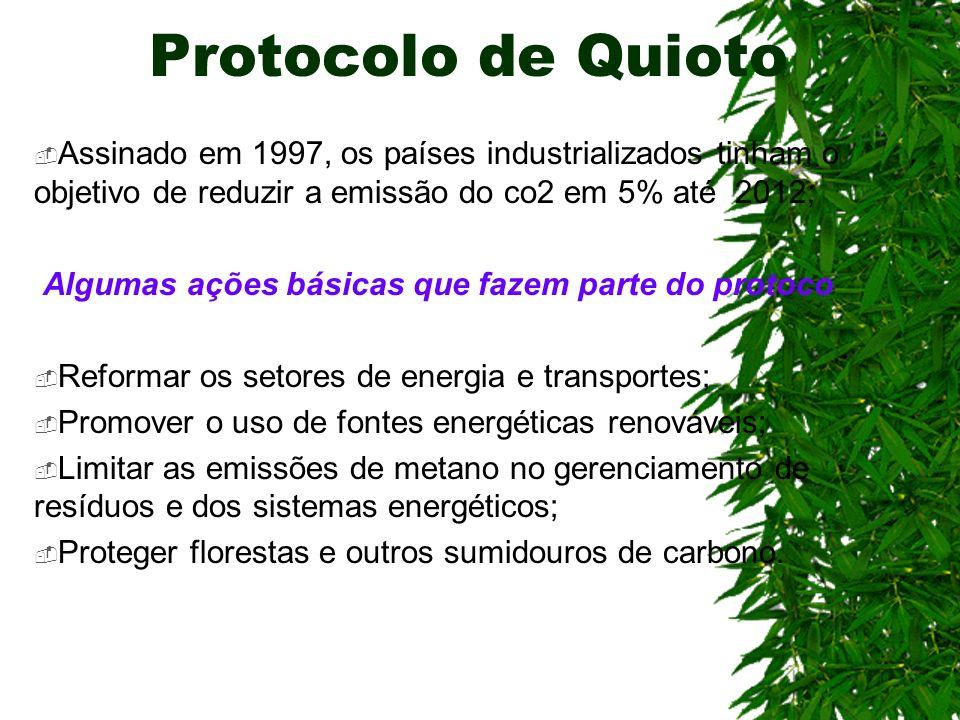 Protocolo de Quioto Assinado em 1997, os países industrializados tinham o objetivo de reduzir a emissão do co2 em 5% até 2012;