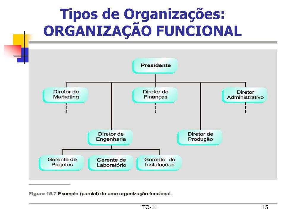 Tipos de Organizações: ORGANIZAÇÃO FUNCIONAL
