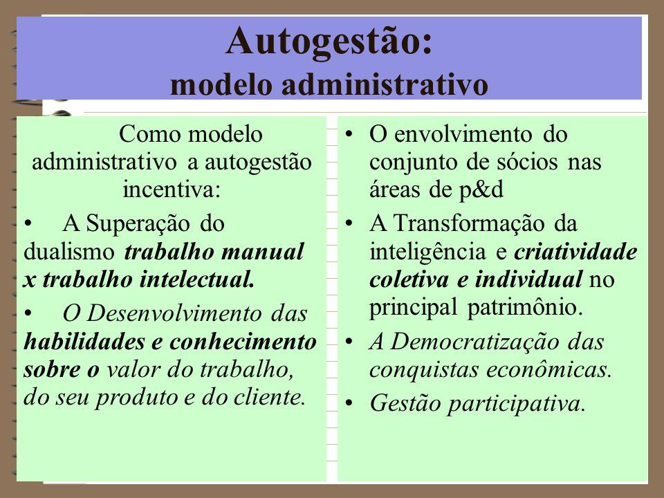 Autogestão: modelo administrativo