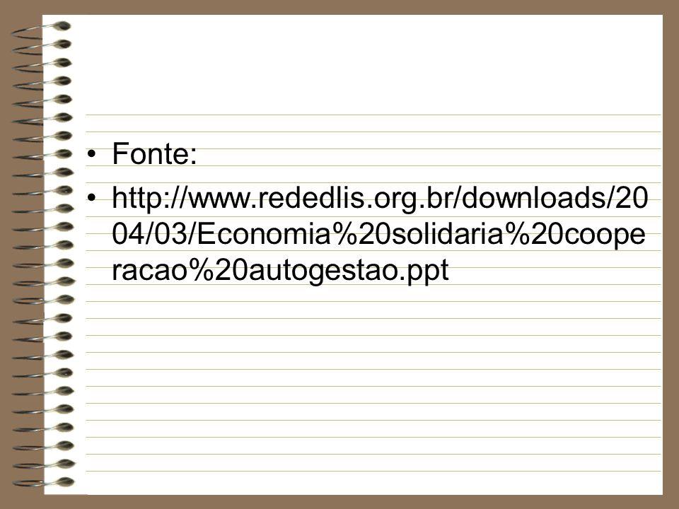 Fonte:http://www.rededlis.org.br/downloads/2004/03/Economia%20solidaria%20cooperacao%20autogestao.ppt.