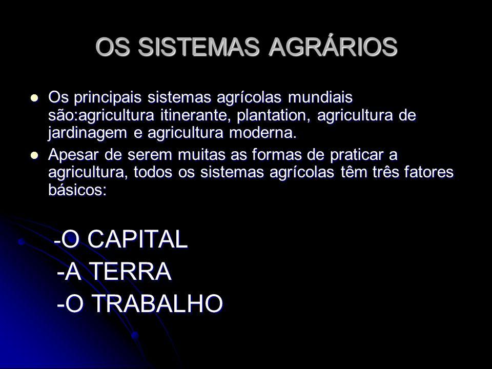 OS SISTEMAS AGRÁRIOS -A TERRA -O TRABALHO -O CAPITAL