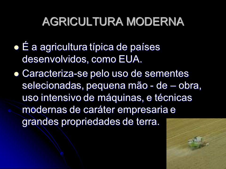 AGRICULTURA MODERNA É a agricultura típica de países desenvolvidos, como EUA.