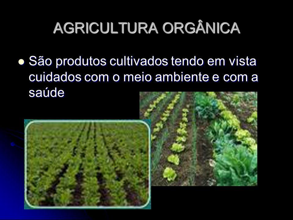 AGRICULTURA ORGÂNICASão produtos cultivados tendo em vista cuidados com o meio ambiente e com a saúde.