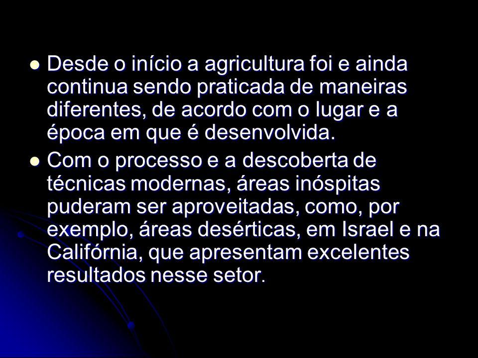 Desde o início a agricultura foi e ainda continua sendo praticada de maneiras diferentes, de acordo com o lugar e a época em que é desenvolvida.