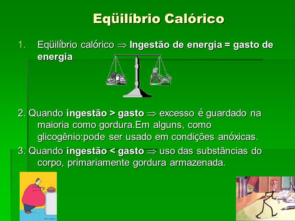 Eqüilíbrio Calórico Eqüilíbrio calórico  Ingestão de energia = gasto de energia.
