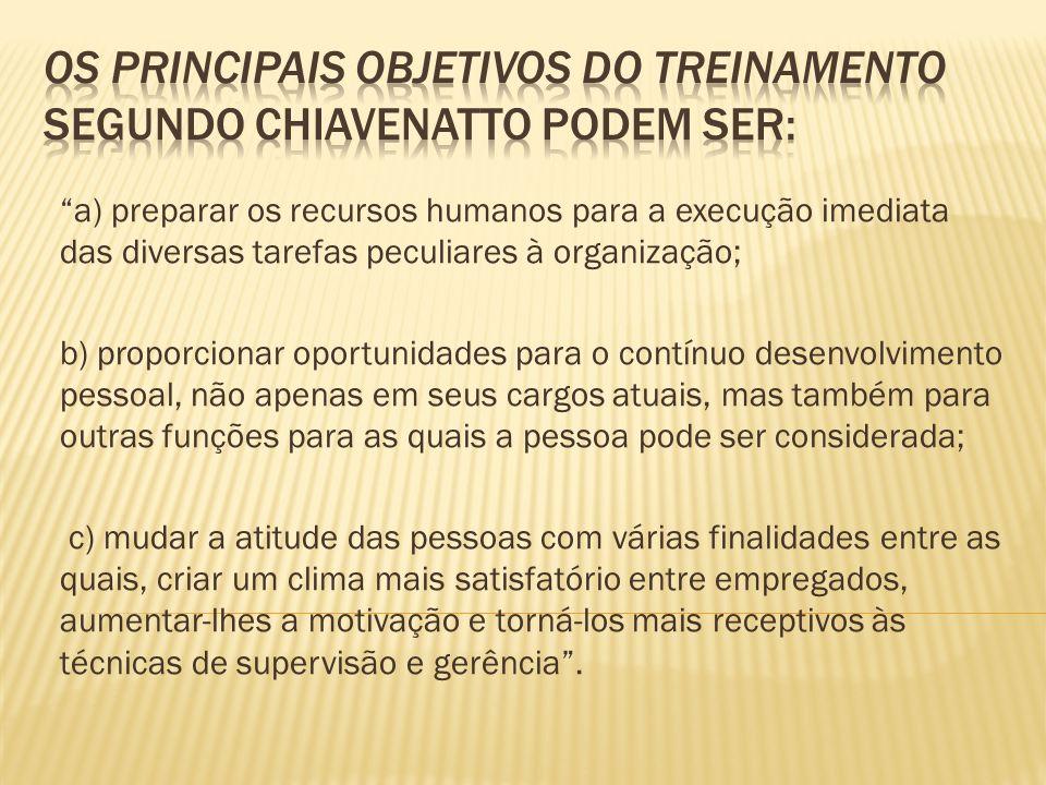 Os principais objetivos do treinamento segundo Chiavenatto podem ser: