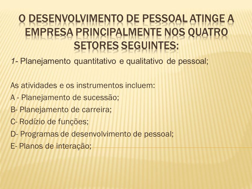 O desenvolvimento de pessoal atinge a empresa principalmente nos quatro setores seguintes: