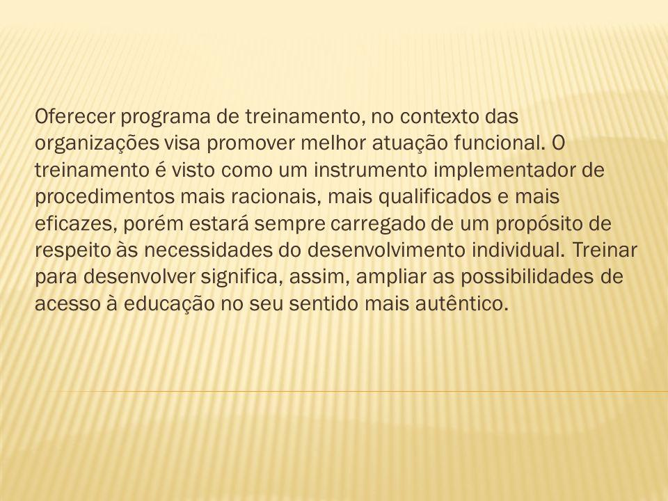 Oferecer programa de treinamento, no contexto das organizações visa promover melhor atuação funcional.