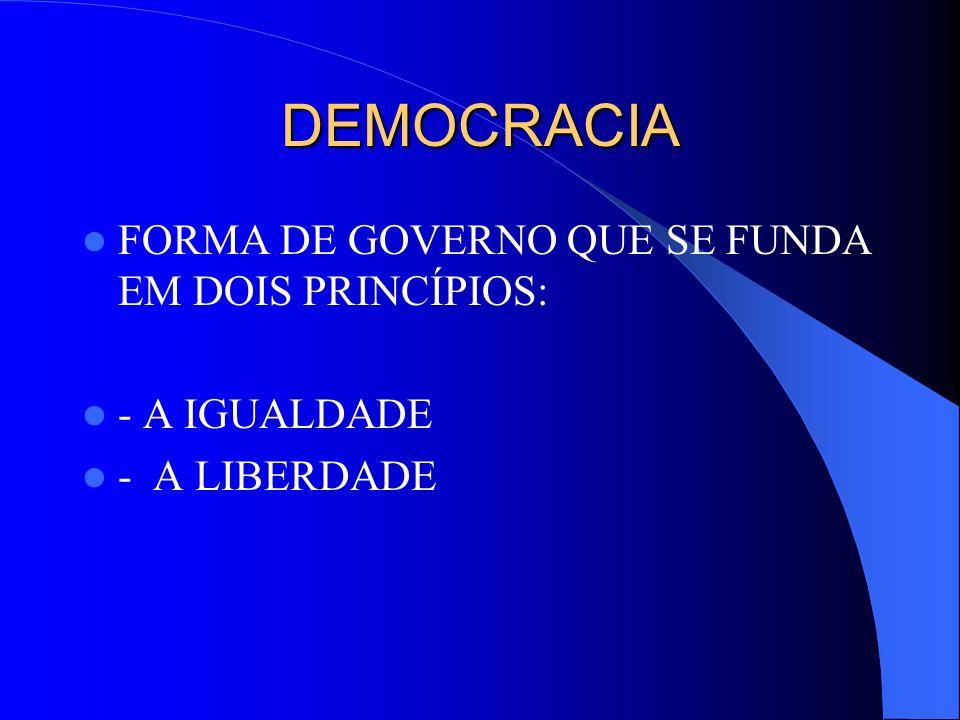 DEMOCRACIA FORMA DE GOVERNO QUE SE FUNDA EM DOIS PRINCÍPIOS: