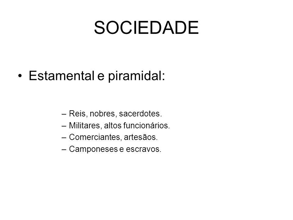 SOCIEDADE Estamental e piramidal: Reis, nobres, sacerdotes.