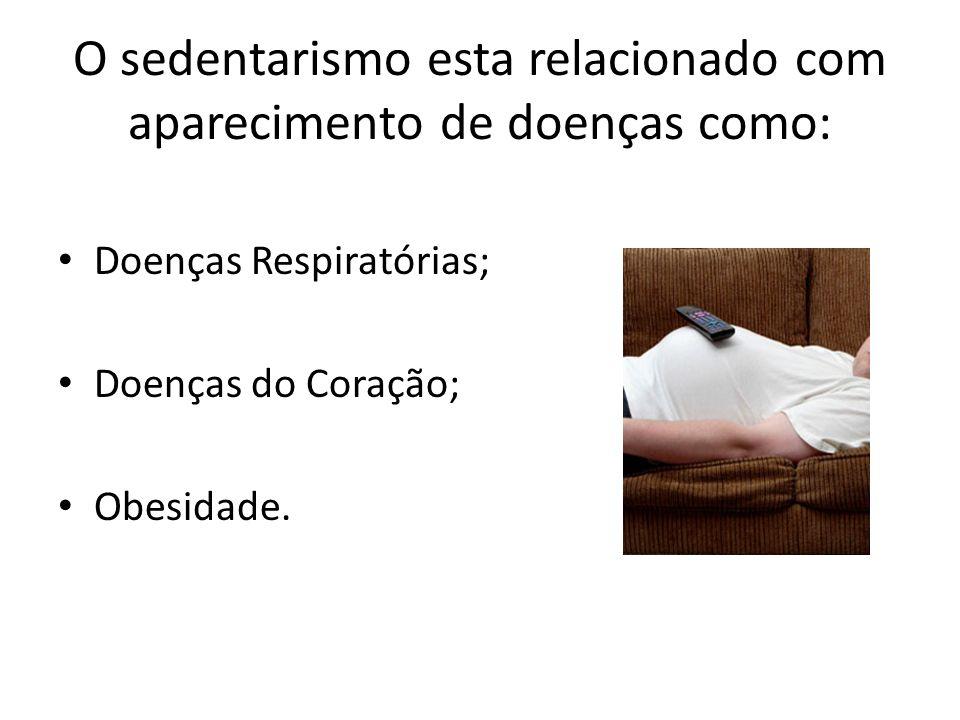 O sedentarismo esta relacionado com aparecimento de doenças como: