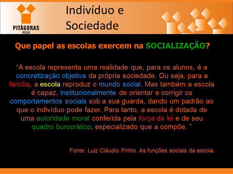 Que papel as escolas exercem na SOCIALIZAÇÃO