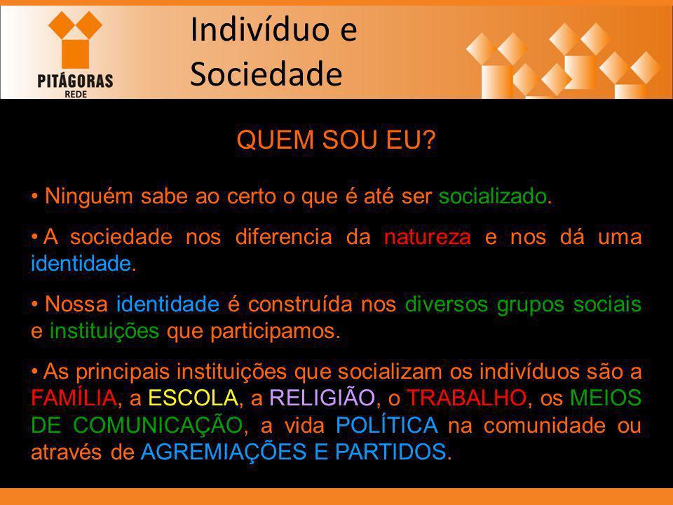 Indivíduo e Sociedade QUEM SOU EU