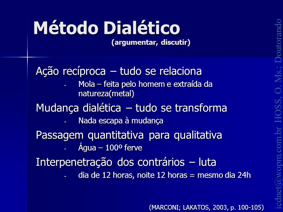 Método Dialético (argumentar, discutir)