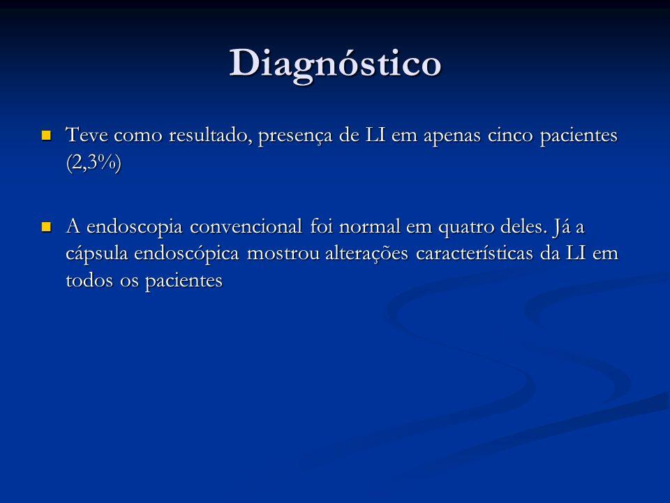 Diagnóstico Teve como resultado, presença de LI em apenas cinco pacientes (2,3%)