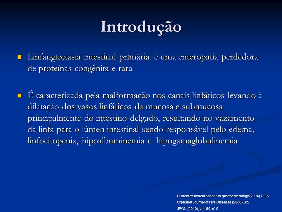 Introdução Linfangiectasia intestinal primária é uma enteropatia perdedora de proteínas congênita e rara.