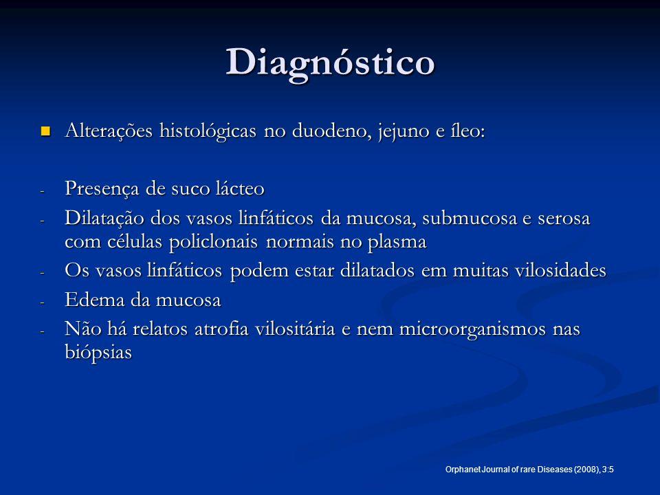 Diagnóstico Alterações histológicas no duodeno, jejuno e íleo: