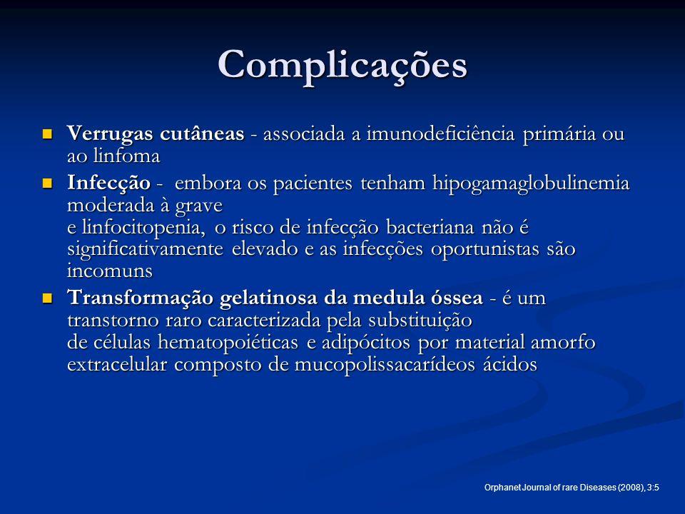 Complicações Verrugas cutâneas - associada a imunodeficiência primária ou ao linfoma.