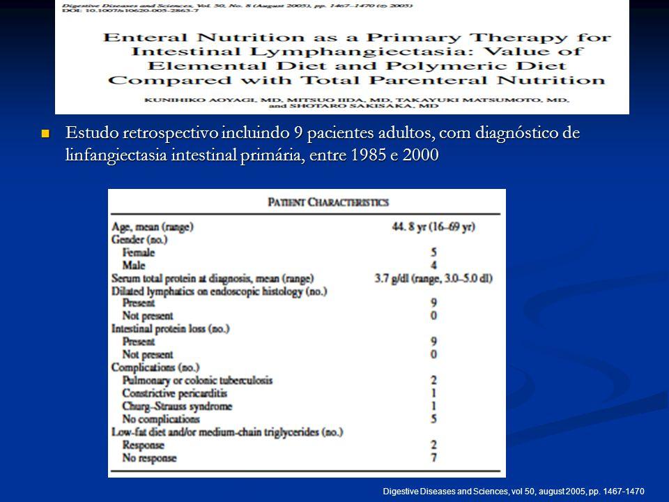 Estudo retrospectivo incluindo 9 pacientes adultos, com diagnóstico de linfangiectasia intestinal primária, entre 1985 e 2000