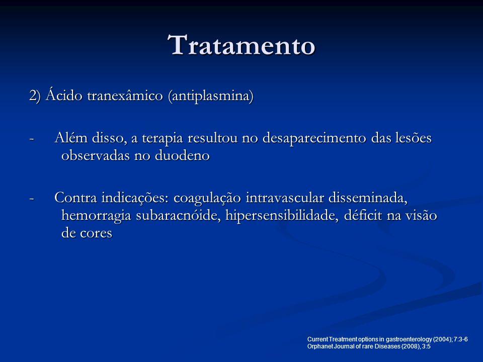 Tratamento 2) Ácido tranexâmico (antiplasmina)