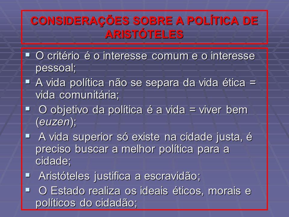 CONSIDERAÇÕES SOBRE A POLÍTICA DE ARISTÓTELES