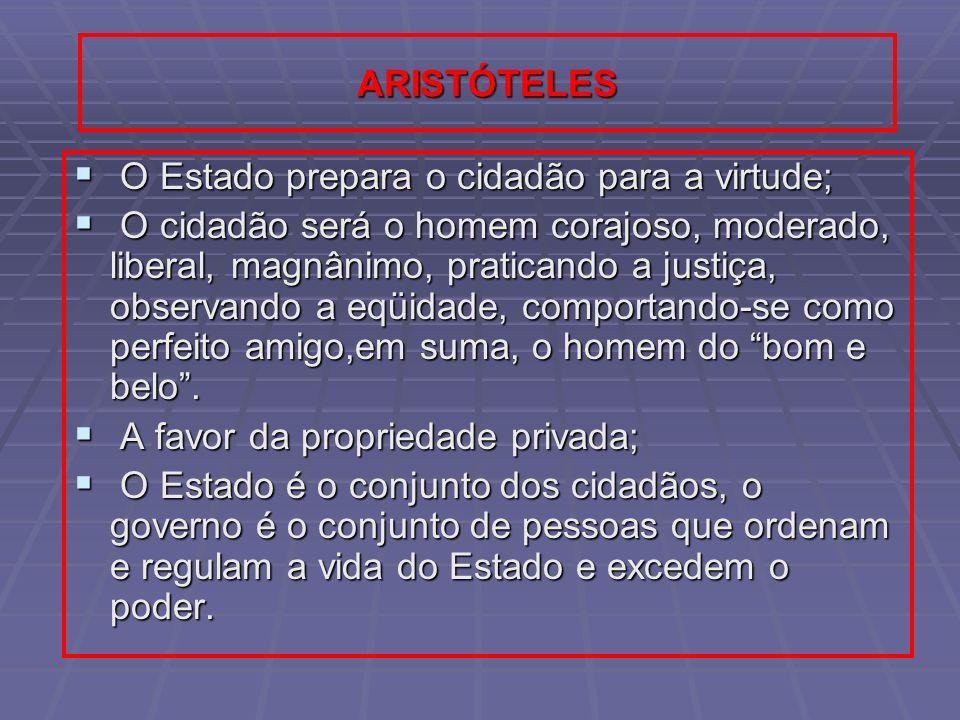ARISTÓTELES O Estado prepara o cidadão para a virtude;