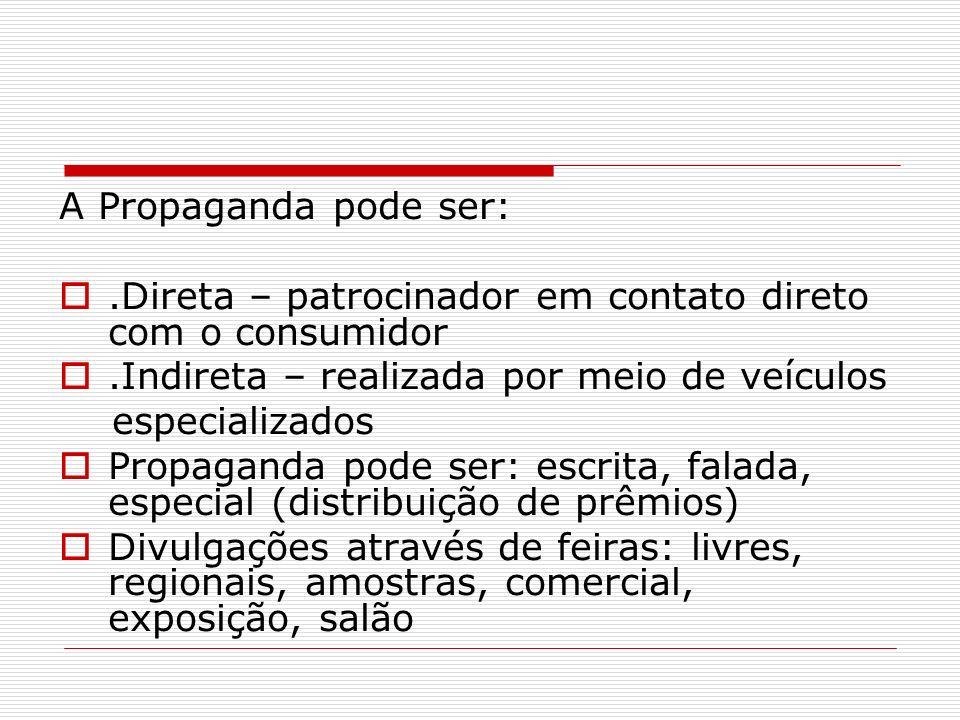 A Propaganda pode ser: .Direta – patrocinador em contato direto com o consumidor. .Indireta – realizada por meio de veículos.