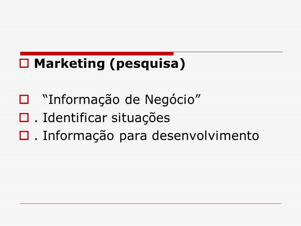Marketing (pesquisa) Informação de Negócio . Identificar situações.