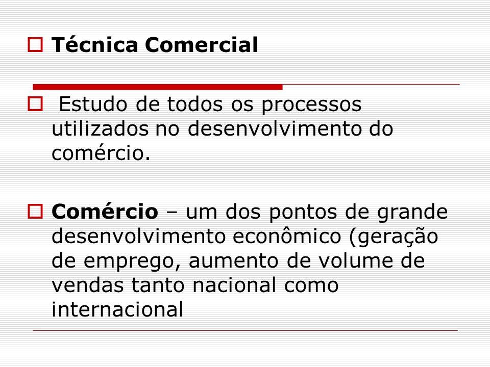Técnica ComercialEstudo de todos os processos utilizados no desenvolvimento do comércio.